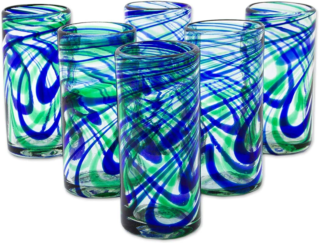 NOVICA Blue And Green Swirl Hand Blown Glass Highball Glasses 11 Oz Elegant Energy Set Of 6