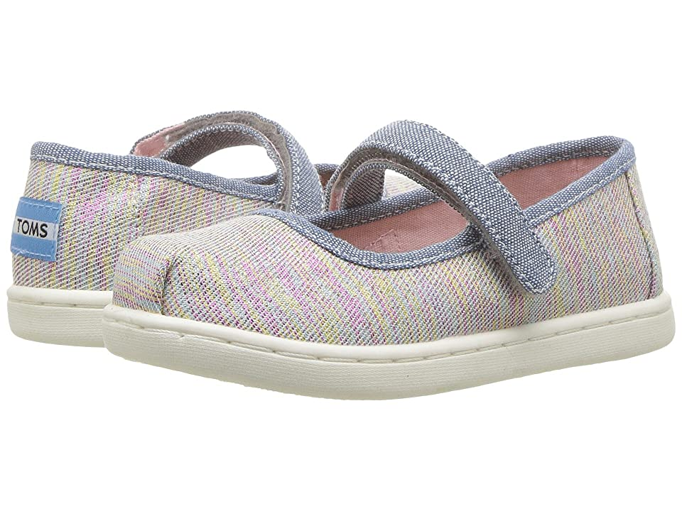TOMS Kids Mary Jane (Infant/Toddler/Little Kid) (Pink Multi Twill Glimmer) Girls Shoes