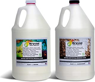 2 Gallon Kit (7.6 Litre) Krystal Resin | Crystal Clear Epoxy Resin Kit | Non-Toxic, Odor Free | High Gloss Thick Clear Coa...
