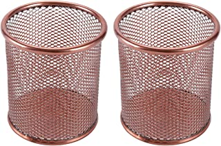 EasyPAG 2 Pcs 3.5 inch Mesh Round Steel Pen Holder,Rose Gold