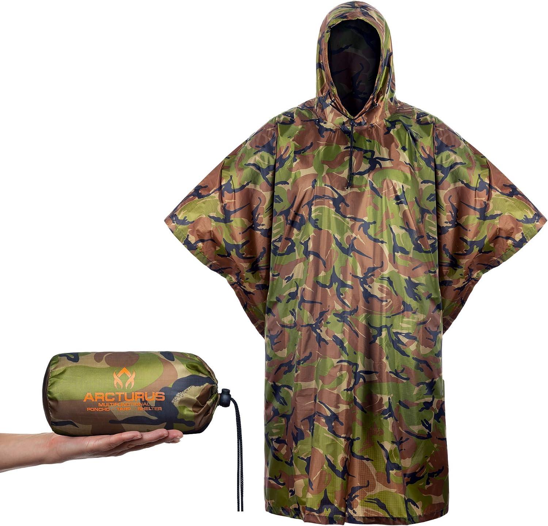 Arcturus Lightweight Ripstop Nylon Rain Poncho with Adjustable Hood