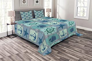 Ambesonne Ships Wheel Bedspread, Nautical Patchwork Pattern with Rope Starfish Sailing Ship Anchor and Wheel, Decorative Quilted 3 Piece Coverlet Set with 2 Pillow Shams, Queen Size, Turquoise