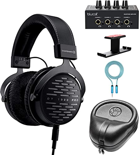 new arrival Beyer dynamic DT 1990 PRO 250 lowest Ohm Open discount Studio Headphones Bundle with Blucoil 4-Channel Headphone Amp, 6' 3.5mm Extension Cable Aluminum Headphone Hook and Slappa Full-Sized HardBody PRO Headphone Case sale