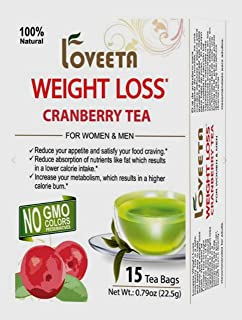 Loveeta Wellness Weight Loss Tea Cranberry - 15 Tea Bags (Gmo Free, Gluten Free, Dairy Free, Sugar Free & 100% Natural)