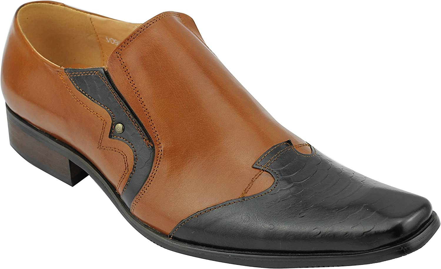 Xposed Mens Real Leather Tan Black 2 Tone Slip on Loafer Smart Casual shoes Size 6 7 8 9 10 11 11.5
