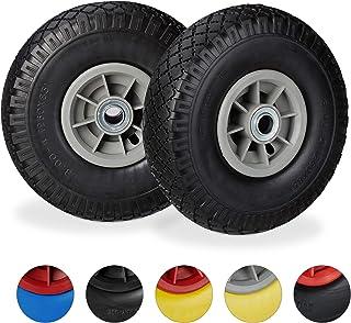 Relaxdays 2X Ruedas de Carretilla, Neumáticos de Goma, 3.00-4, Eje de 20mm, hasta 80 kg, 260x85 mm, Negro-Gris