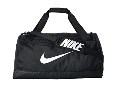 Nike Brasilia Medium Duffel Bag (Black/Black/White) Duffel Bags