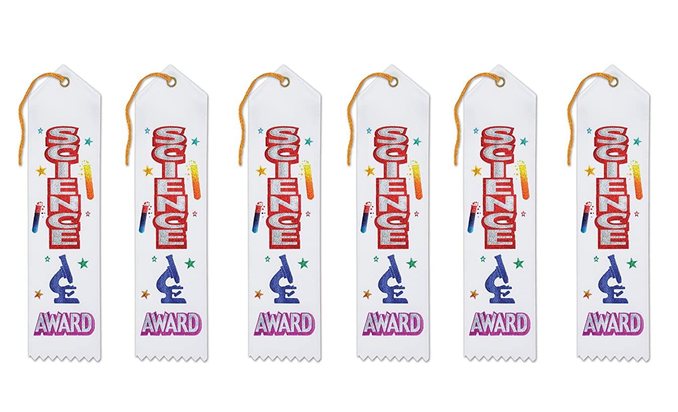 Beistle AR075 Science Award Ribbons, 2 by 8-Inch, 6-Pack