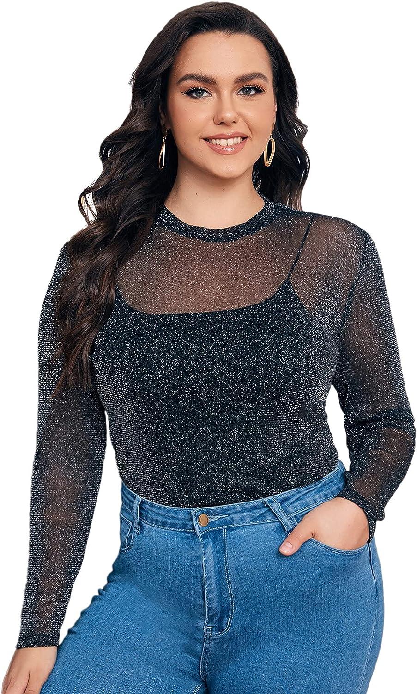 SheIn Women's Plus Long Sleeve Sheer Glitter Mesh Top Round Neck Tee T Shirt
