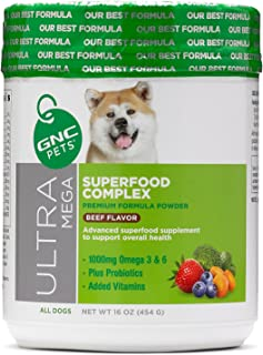 GNC Pets Ultra Mega Superfood Complex Formula Powder Dog Supplment, 16 Ounces - Beef Flavor   Superfood Supplement to Supp...