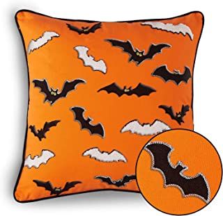 Cassiel Home Throw Pillow Covers for Halloween Decor Spider Web Embroidery Cushion Cover Halloween Decorations Throw Pillow Case for Home Decorations Sofa Orange Pillow 18X18 inch 45x45cm Great Gifts