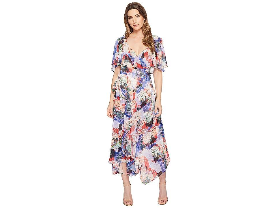 CATHERINE Catherine Malandrino Jos Ruffle Midi Wrap Dress (Spring Blooms) Women