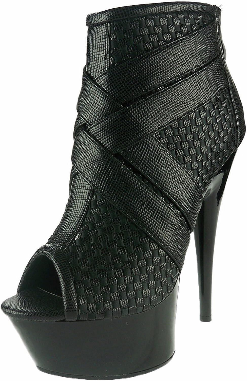 Ellie Shoes Women's 609-Monic Peep Fashionable Toe - Pl Discount mail order Stiletto Ankle Boots