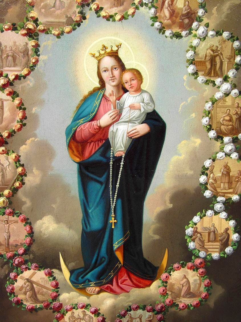 Amazon.com: Our Lady of Rosary POSTER A3 print Virgin Mary and Child Jesus image Blessed Mother picture Holy Mary painting Catholic Religious gift Christian Holy Wall Art Decor for Home Room: Handmade