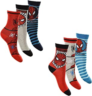 Pack de 6 calcetines infantiles de Spiderman, talla 27 - 34