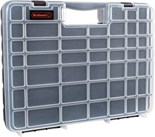 Portable Storage Case with Secure Locks and 55 Small Bin Compartments for Hardware, Screws, Bolts, Nuts, Nails, Beads, Jew...