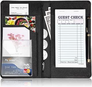 EvaHab Server Book for Waitress - Zipper Waiter Book Restaurant Waitstaff Organizer,Guest Check Holder with 7-Money Pockets fit Server Apron-Black