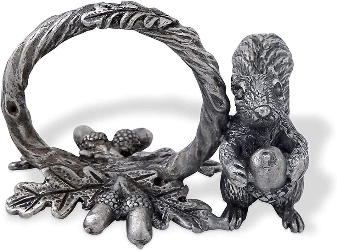 Vagabond House Pewter Squirrel Branch Napkin Ring 2 Tall Sold As Single Ring Artisan Crafted Designer Ring