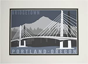 Portland, Oregon - Tilikum Crossing Bridge - Bridgetown (11x14 Double-Matted Art Print, Wall Decor Ready to Frame)