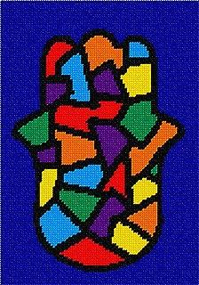 pepita Hamsa Stained Glass Needlepoint Canvas