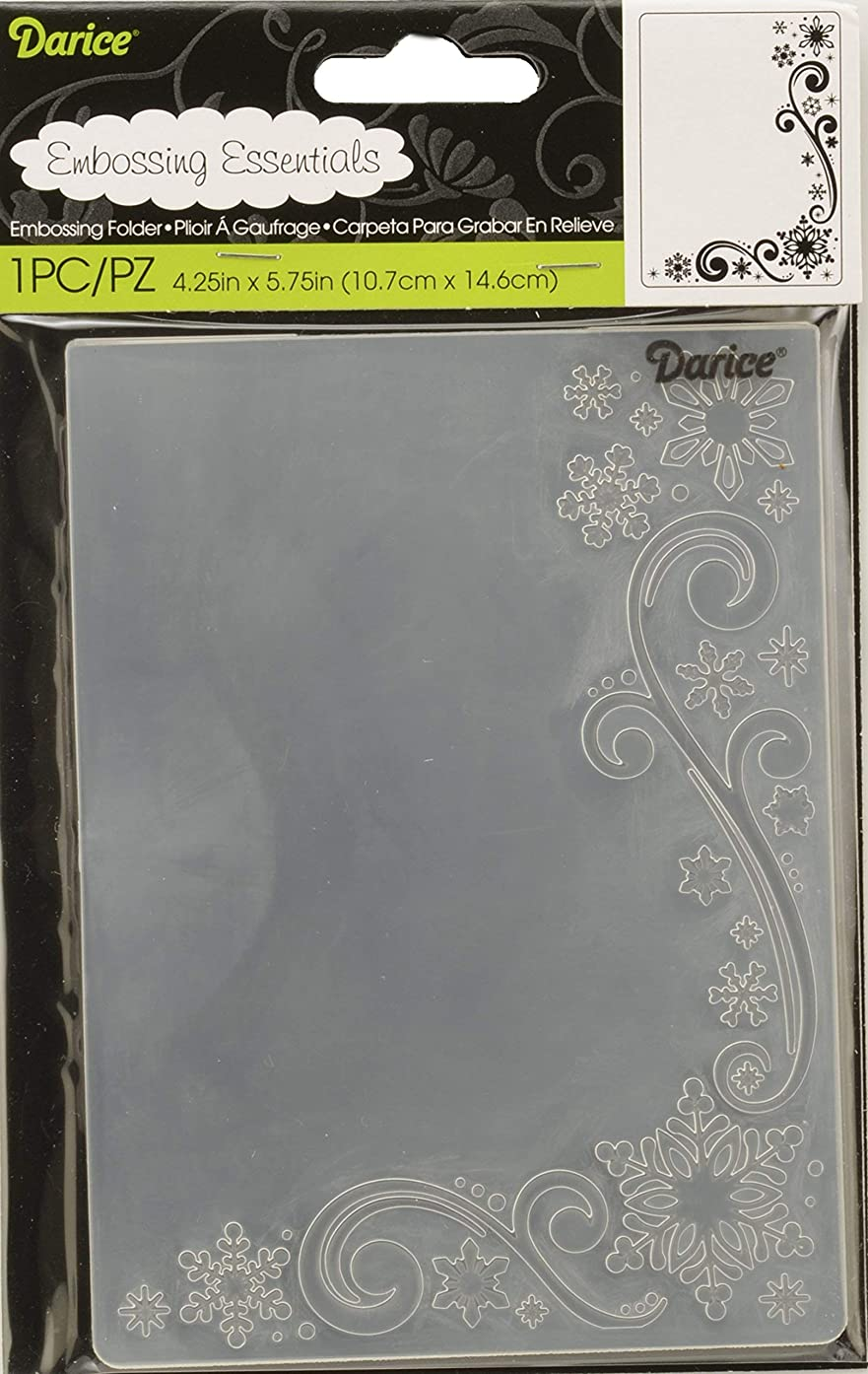Darice 1218-117 Embossing Folder, 4.25 by 5.75-Inch, Snowflake Scroll Design