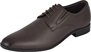 Auserio Men's Brown Genuine Leather Derby Shoes