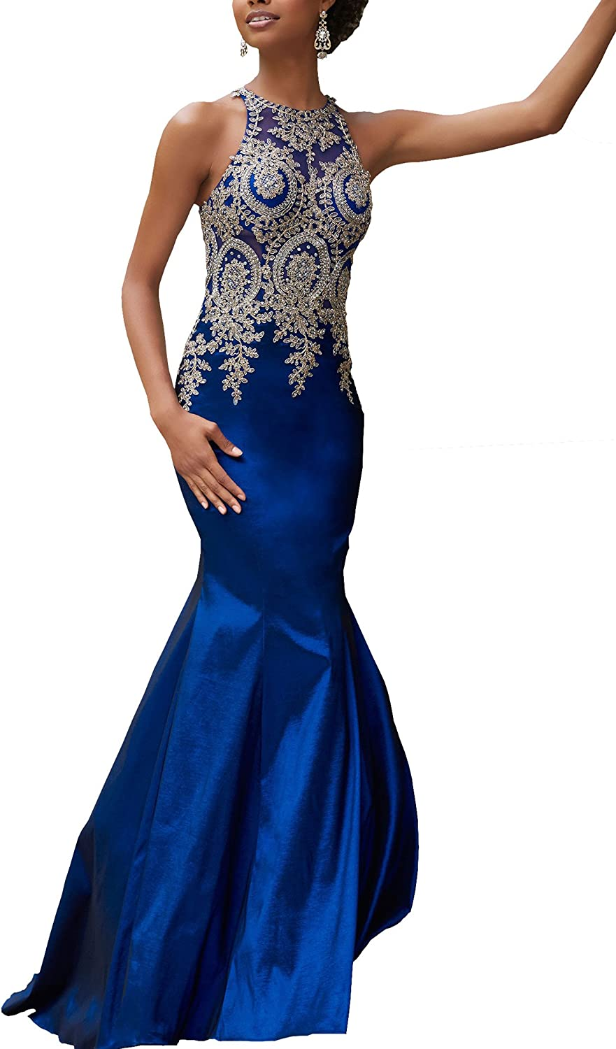 Changjie Women's Mermaid Prom Dress Lace Applique Beading Formal Evening Gown