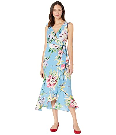 Vince Camuto V-Neck Dress with Ruffle Details (Blue Multi) Women