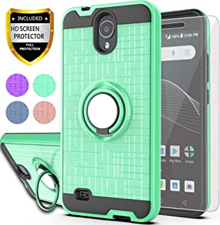AT&T AXIA Case (QS5509A),Cricket Vision Case with HD Phone Screen Protector,YmhxcY 360 Degree Rotating Ring & Bracket Dual Layer Resistant Back Cover for AT&T AXIA (Cricket Vision) 2018-ZH Mint