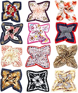 VBIGER 12 Mixed Silk Square Scarves Womens Neck Head Scarf Scarves Set Summer Bandanas 50x50cm
