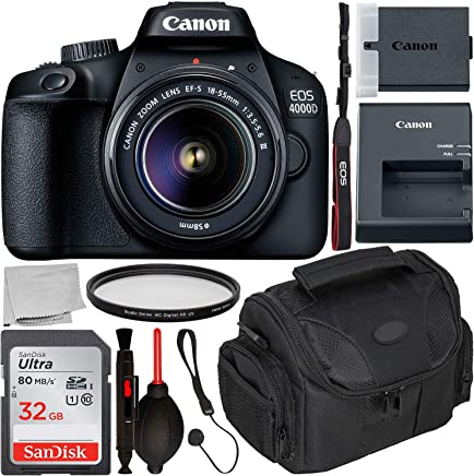 Canon EOS 4000D DSLR Camera with 0.709-2.165 in III Lens & Starter Accessory Bundle - Incluye: SanDisk Ultra 32GB SDHC Memory Card + Camera Carrying Case + Ultraviolet Filter + Lens Cap Keeper + More