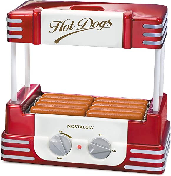Nostalgia HDR8RR Roller Warmer 8 Hot Dog And 6 Bun Capacity