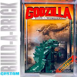 BuildABrick Custom Godzilla Minifigure w/ Display Case UV Collectible Card for Vintage Monster minifig Collectors 506A