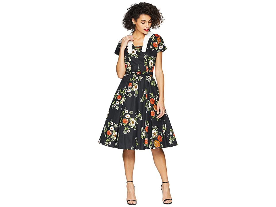 Unique Vintage Campbell Swing Dress (Black Floral) Women