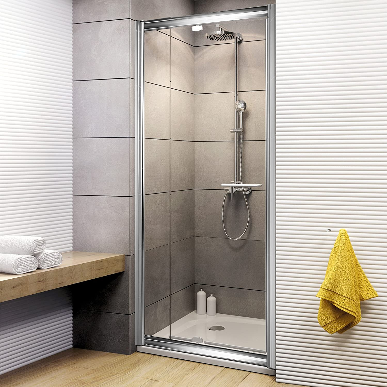 Schulte Duschkabine Drehtür Nische Vita, 79-91x185 cm, 5 mm Sicherheits-Glas klar, chrom-optik, ausziehbare Duschtür