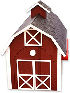 Amish-Made Deluxe Wooden Mailbox, Dutch Barn Style (Red with White Trim)