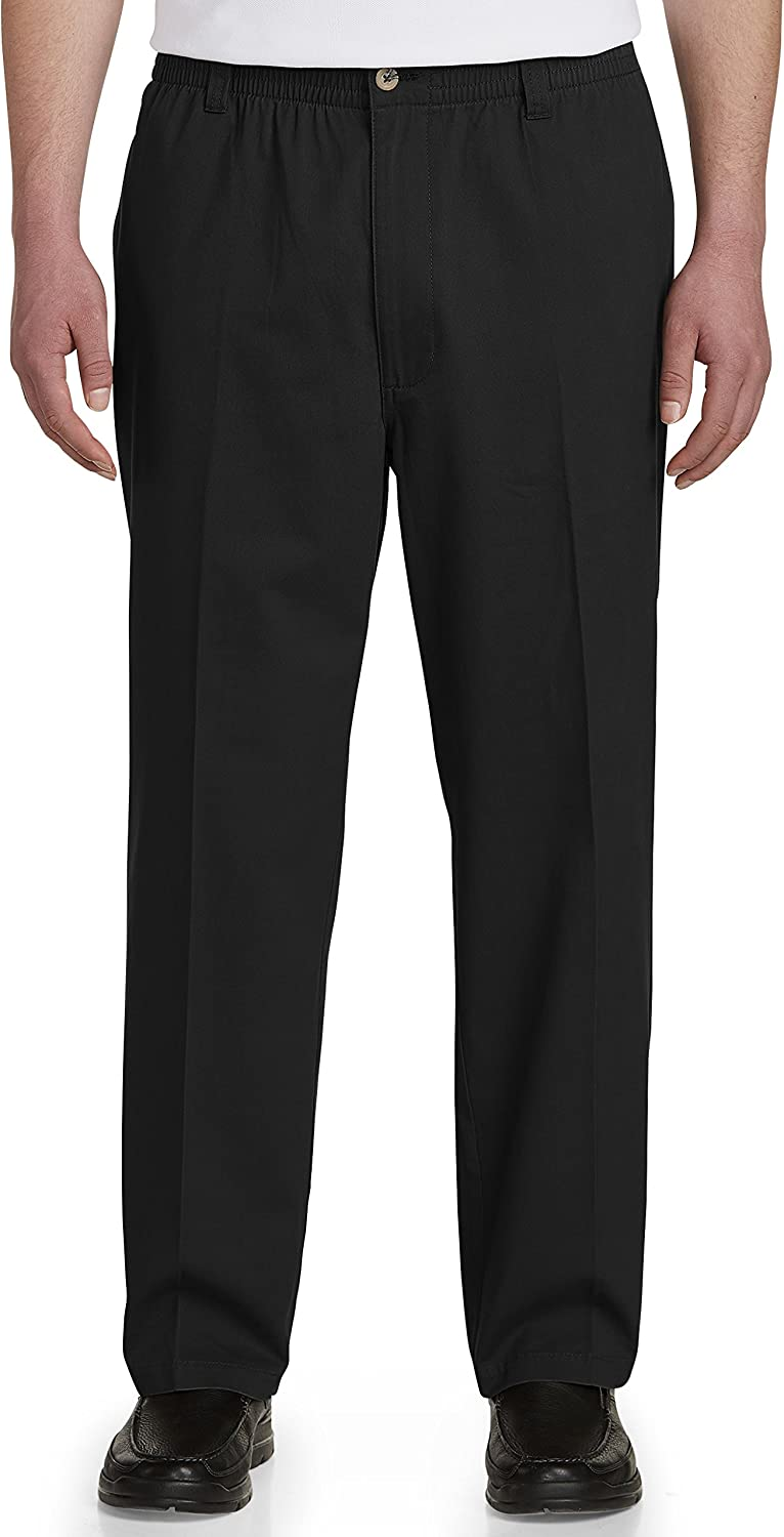 Updated Fit Harbor Bay by DXL Big and Tall Elastic-Waist Twill Pants