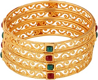 Indian Bollywood Traditional Ethnic Gold Plated Faux Ruby Emerald Bracelets Bangle Set Wedding Jewelry for Women