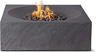 Pyromania Paloma Outdoor Fire Pit Table. Hand Crafted from Concrete. 60,000 BTU Stainless Steel Burner with Electronic Ignition - Propane Model, Charcoal Color (Lava Rock Included)