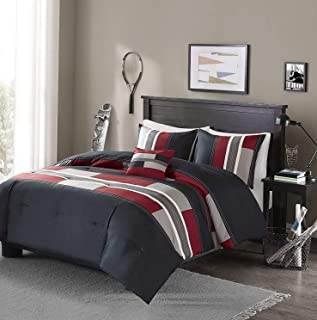 BEAUTIFUL MODERN COZY GREY BLACK RED BOYS STRIPE BLOCK COMFORTER SET /& PILLOW