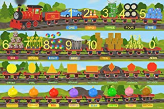 coilbook Numbers, Shapes and Colors Train Poster XL, 36x24, Great 3-in-1 Educational Value!