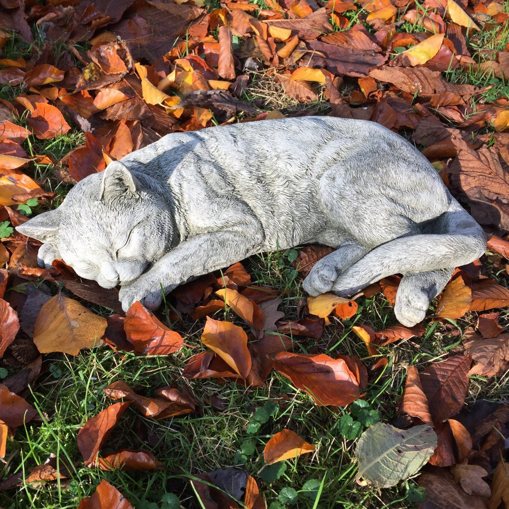 Antikas - Gato Que Duerme - Estatua de Animal decoración jardín Figuras de Piedra - decoración de Exterior - estatuas Escultura de Piedra: Amazon.es: Hogar