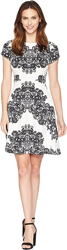 Adrianna Papell Lace Printed Fit & Flare Dress