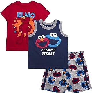 Sesame Street Boys 3PC Shirts and Short Set: Elmo & Cookie Monster