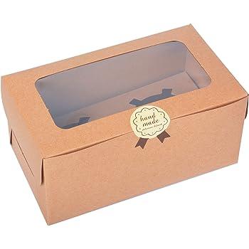 Juego de 12 cajas de papel Kraft para cupcakes con ventana de PVC/pieza de cartón 2 titulares-kraft: Amazon.es: Hogar