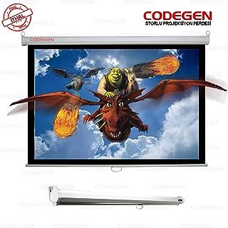 Codegen AX-18 180x180cm Siyah Fonlu Storlu Kilitleme Mekanizmalı Projeksiyon perdesi, Beyaz