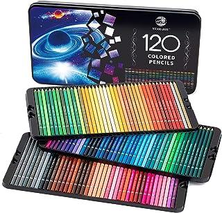 مداد رنگی SJ STAR-JOY 120 برای رنگ آمیزی کتابها ، مداد رنگی برتر با رنگ پر جنب و جوش ، هدایای عالی تعطیلات برای طراحی رنگ آمیزی ، مداد رنگی هسته نرم