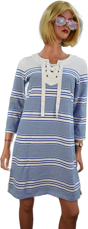 Vineyard Vines Women's Yacht Stripe TIE Front Knit Dress in Yacht bluee