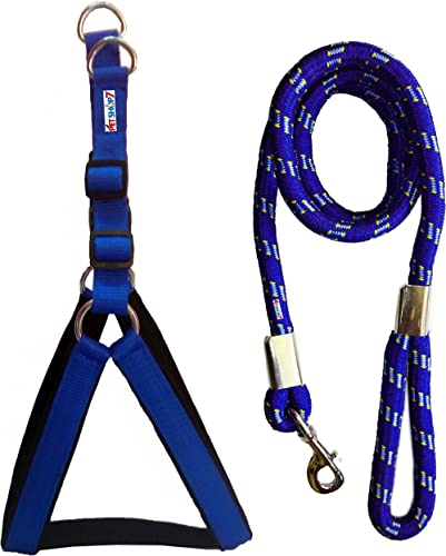 Petshop7 Nylon Padded Adjustable Dog Harness and Leash Rope for Large Pet (1.25-inch, Chest Size: 33-42, Blue)