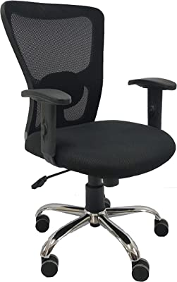 DFC Rigo Executive Boss Leon Medium Manager Staff Computer Laptop Study College Office Chair for High Spine Lumbar and Ortho Back Support with Rolling Moving Revolving Wheels (Black)
